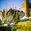 Hatley Castle;Outside wedding ceremony; Kenmar Flower Farm;