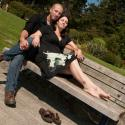 Couple; engagement; saxe point; bench
