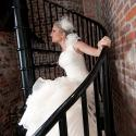 Bride on spiral stairs, Don't trash the dress